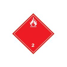 Clear language dangerous goods shipping labels Class 2