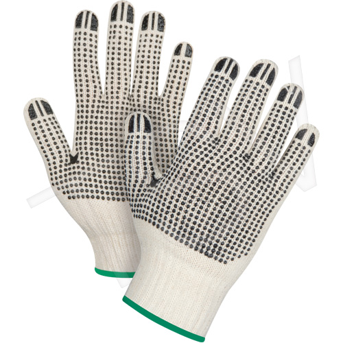 Large Natural Poly/Cotton Dotted Gloves