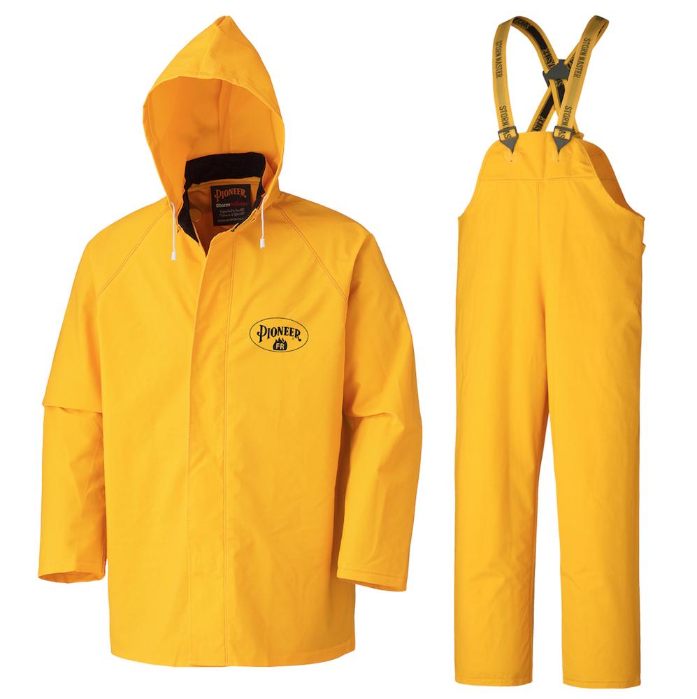 Flame Resistant PVC Heavy-Duty 3-Piece Rain Suit