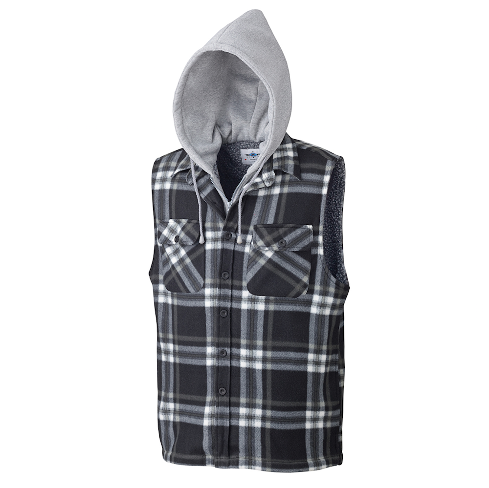 Quilted Hooded Polar Fleece Vest