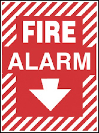 Fire Alarm With Arrow Down