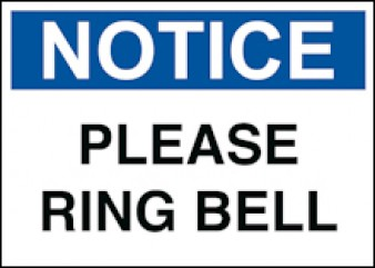 Notice - Please Ring Bell