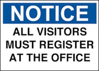 Notice - Visitors Register