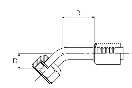 Female / 45° Elbow / Swivel O-Ring Tube