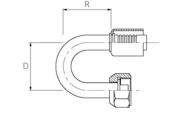 Female / 180° Elbow / Swivel O-Ring Tube
