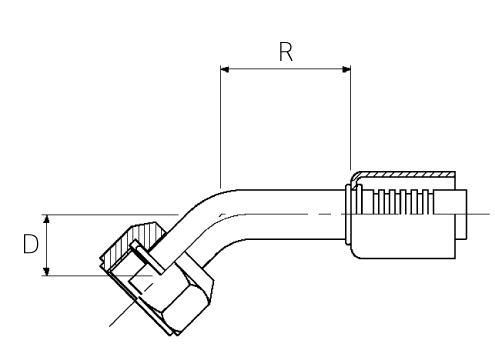 Female / 45° Elbow / Swivel / Metric O-Ring Tube