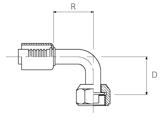 Female / 90° Elbow / Swivel / Metric O-Ring Tube