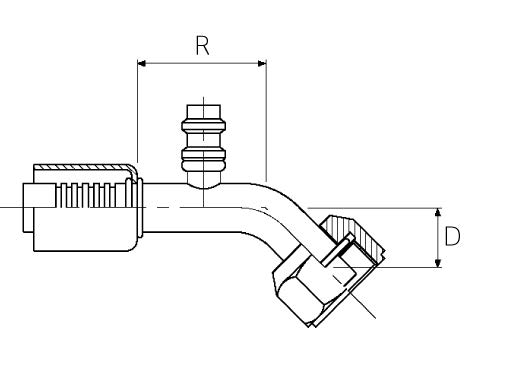 Female / 45° Elbow / Swivel / R134a Valve O-Ring Tube